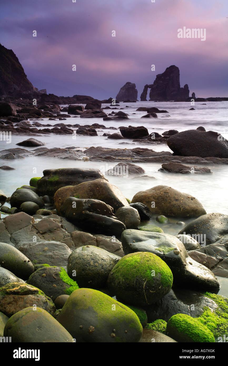 Exposed rocks along coastline San Juan de Gaztelugatxe Vizcaya Basque country Europe - Stock Image