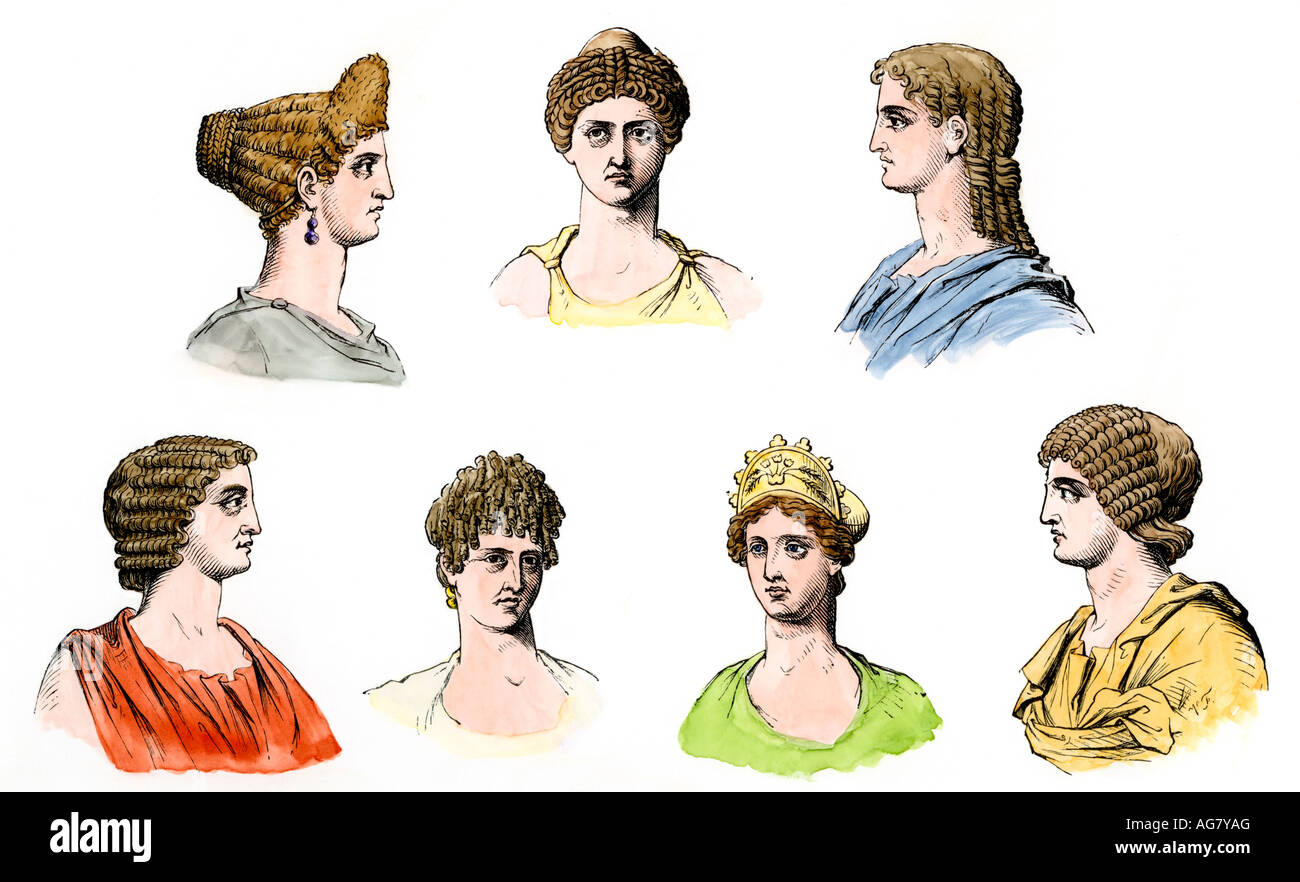 Coiffures of Roman ladies. Hand-colored woodcut - Stock Image