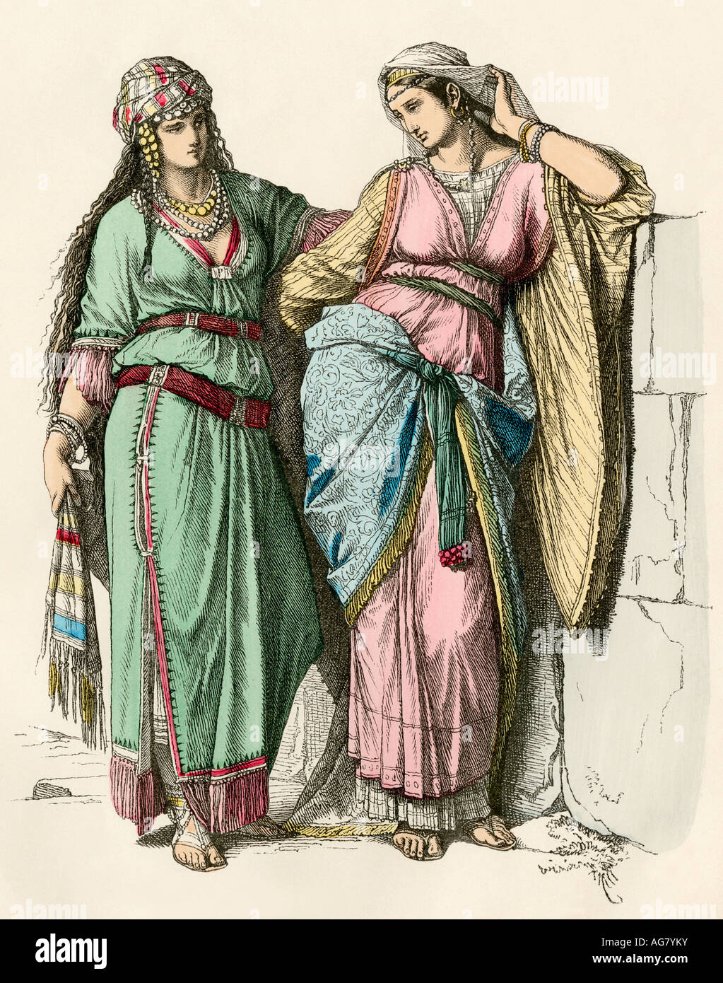Upperclass Jewish women in ancient Israel. Hand-colored print - Stock Image