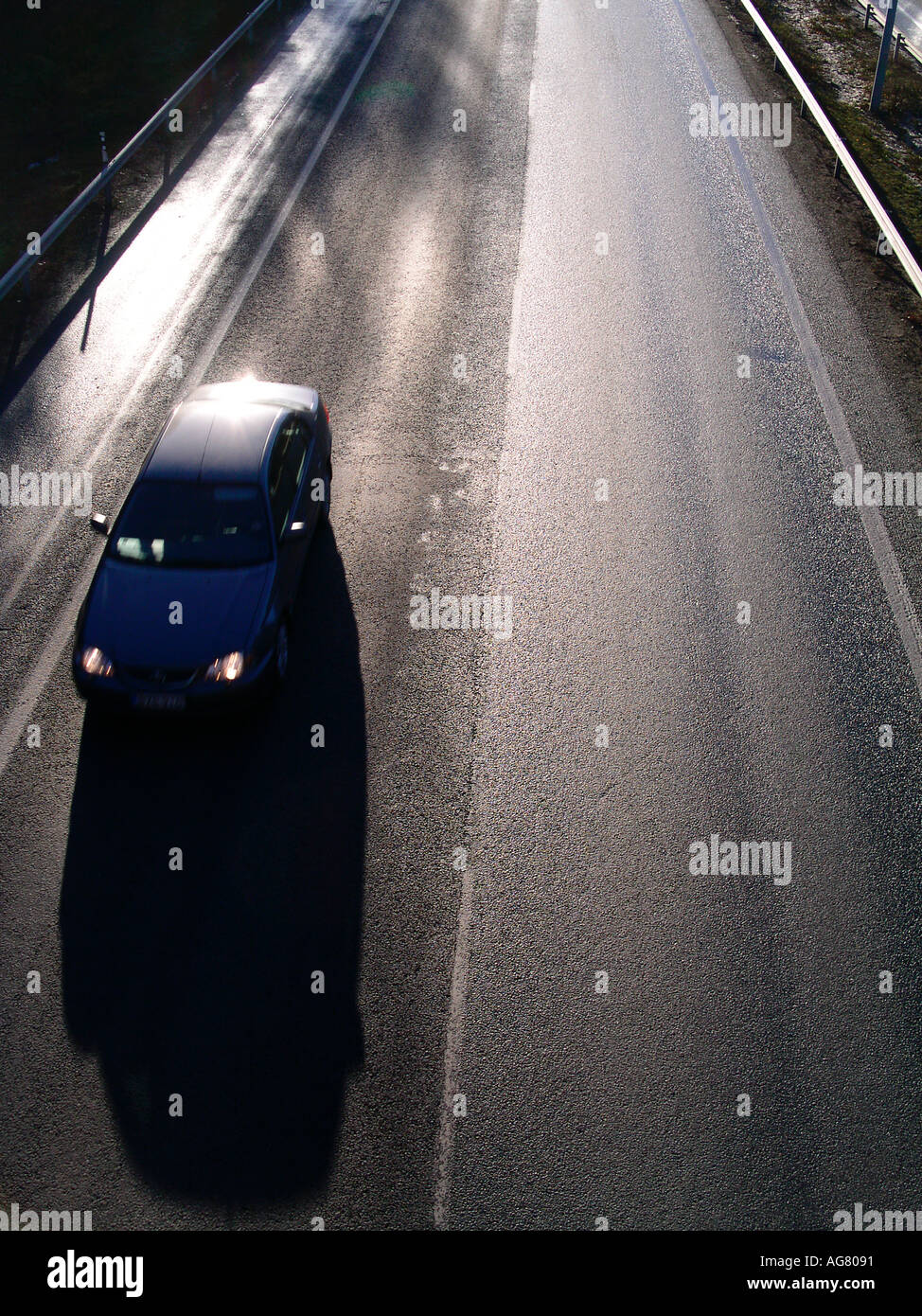 traffic on a divided motorway highway - Stock Image