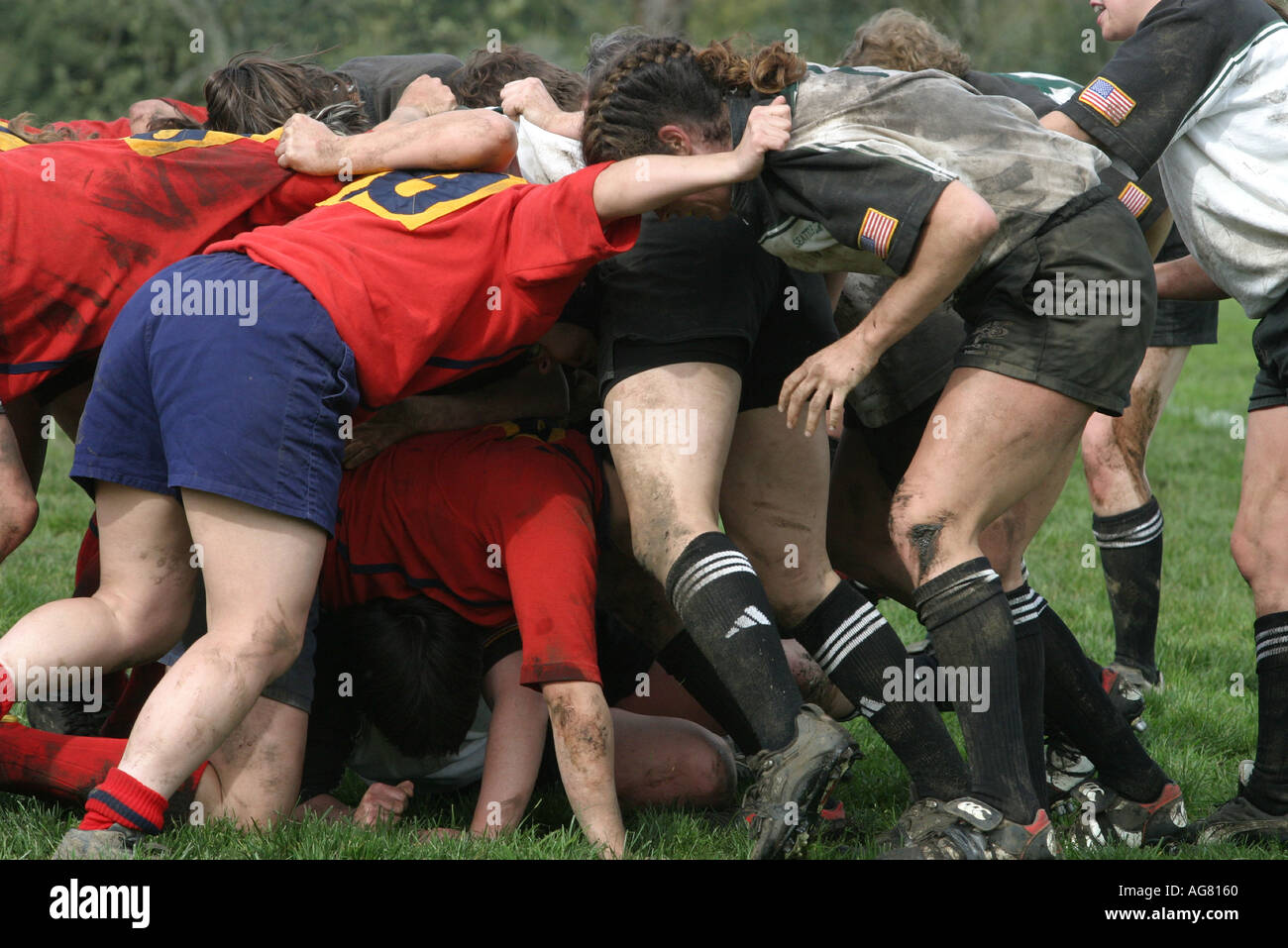 A women s rugby game in action during the scrum as players fight for the ball at a game in Oregon - Stock Image