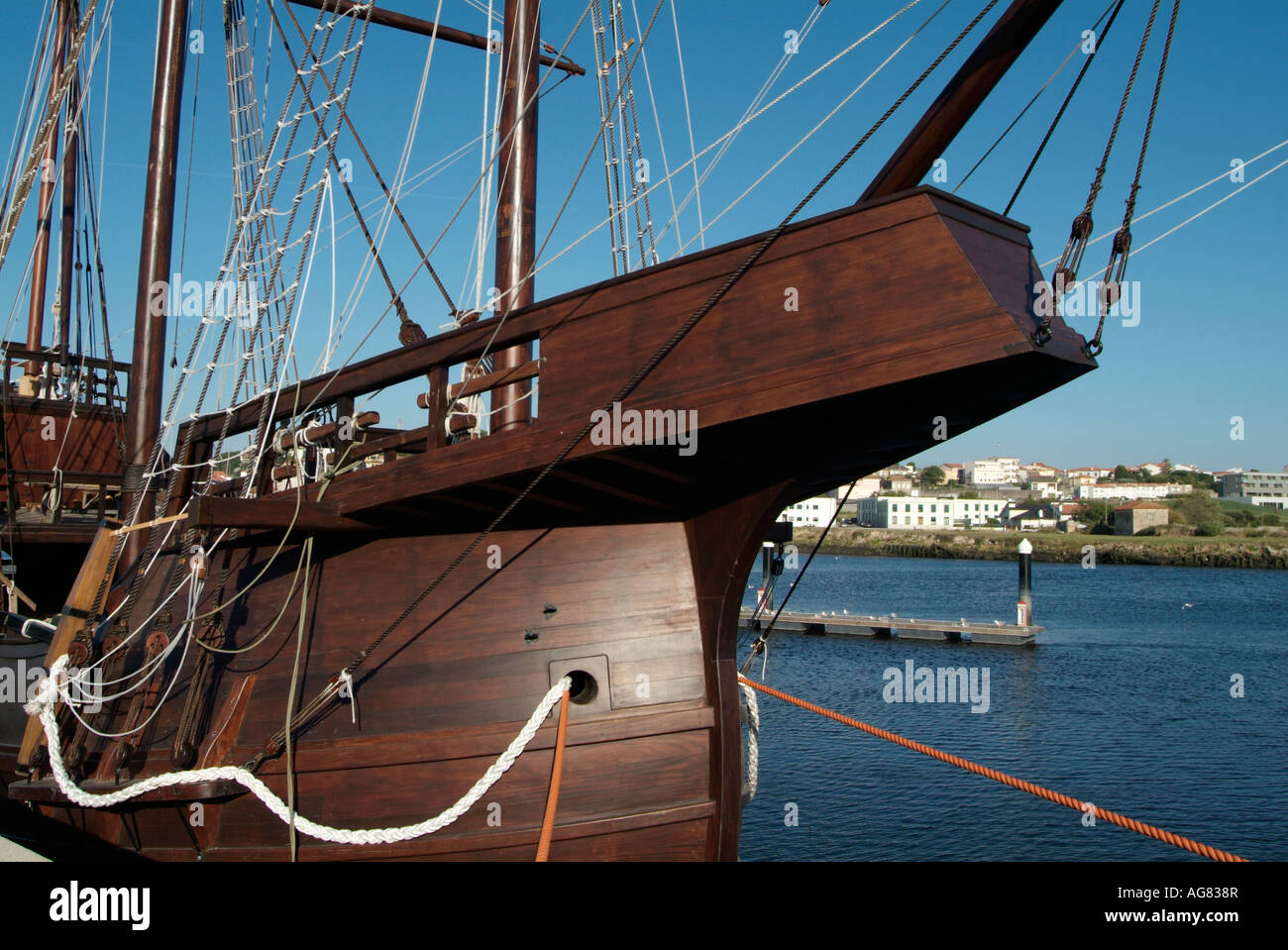 Replica of an old ship used in the discoveries - Stock Image
