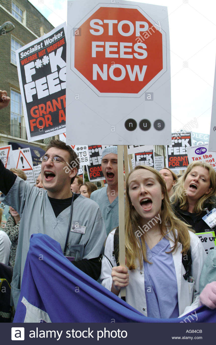 National Union of Students demonstration against tuition fees London - Stock Image