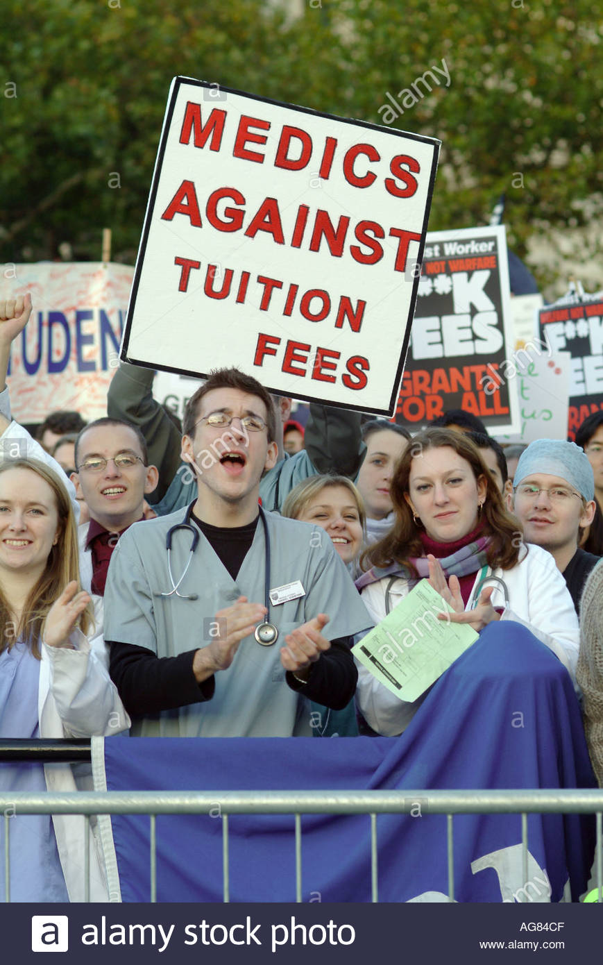 National Union of Students demonstration in London against tuition fees - Stock Image