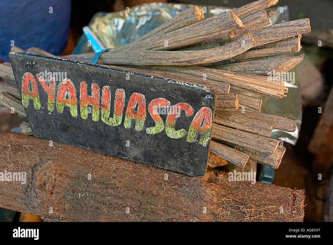 Dried ayahuasca vine for sale in the Belem market Iquitos Peru - Stock Image