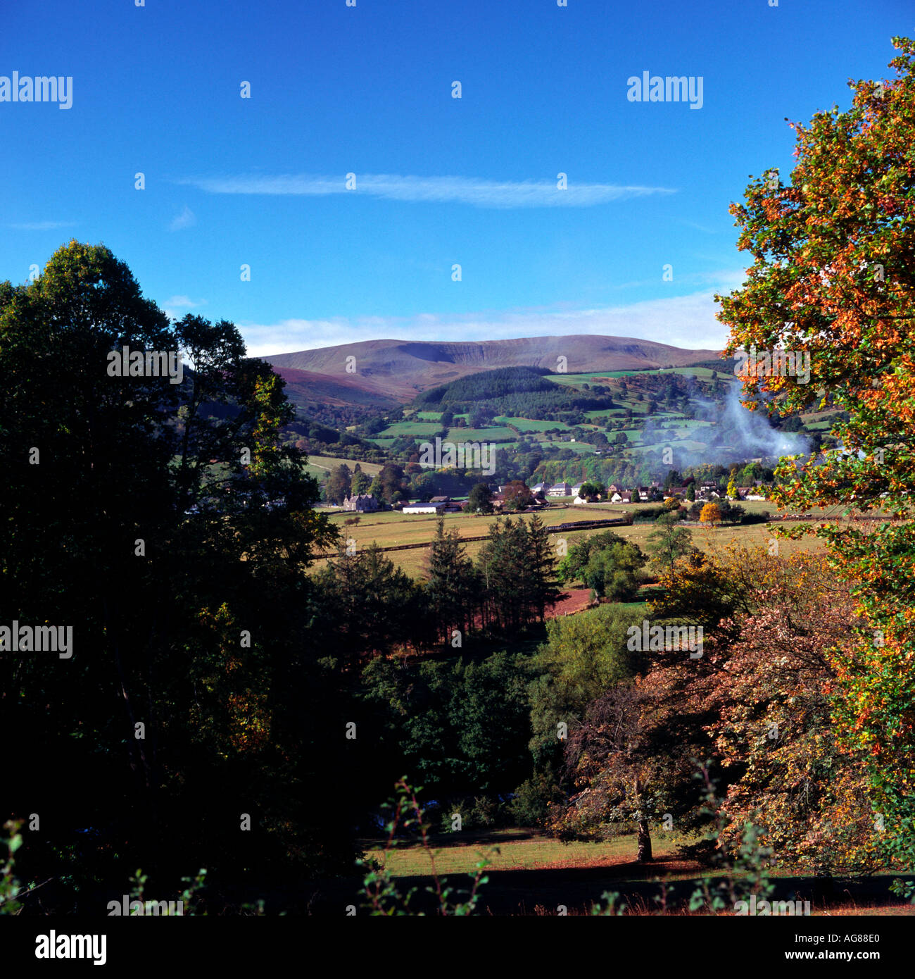 Talybont on Usk with the Brecon Beacons in the background Valley of the River Usk - Stock Image