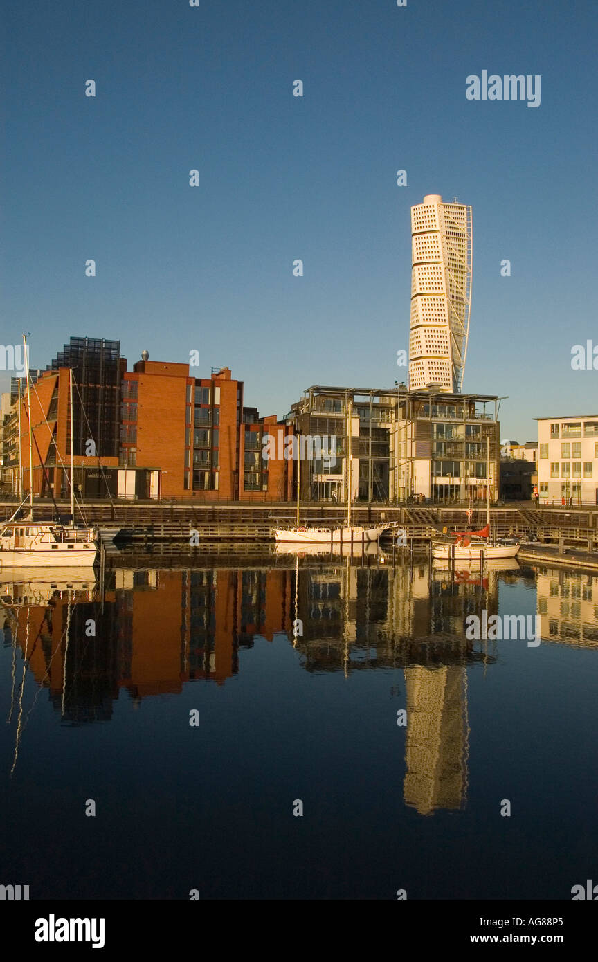 Turning Torso with reflexion, sweden, scandinavia, Malmo, landmark, europe - Stock Image
