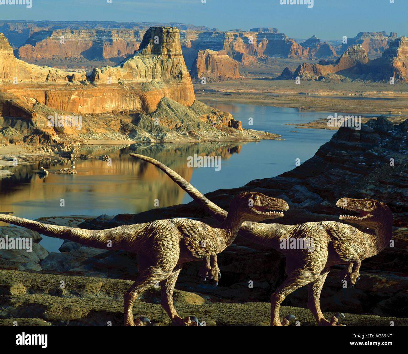 Velociraptor dinosaurs in the American Southwest - Stock Image