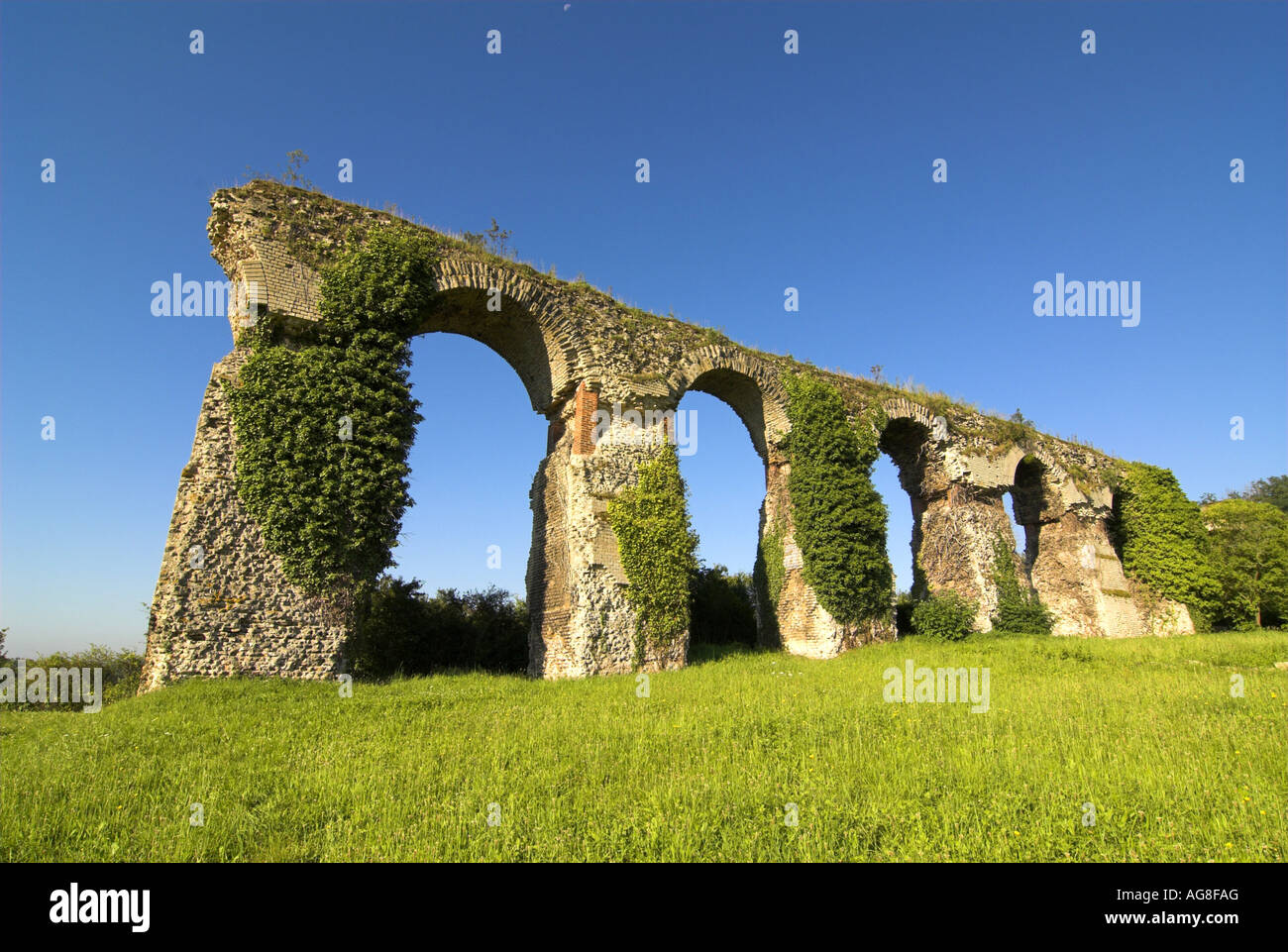 Roman aqueduct from the second century, France, Lorraine, Jouy-aux-Arches - Stock Image