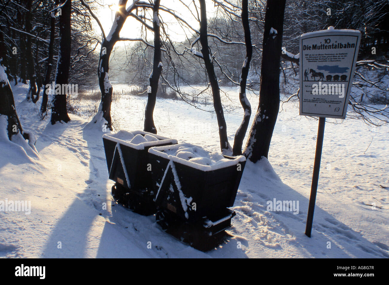 waggons of the Mutten Valley Train in winter with snow, Germany, North Rhine-Westphalia, Ruhr Area, Witten-Bommern - Stock Image