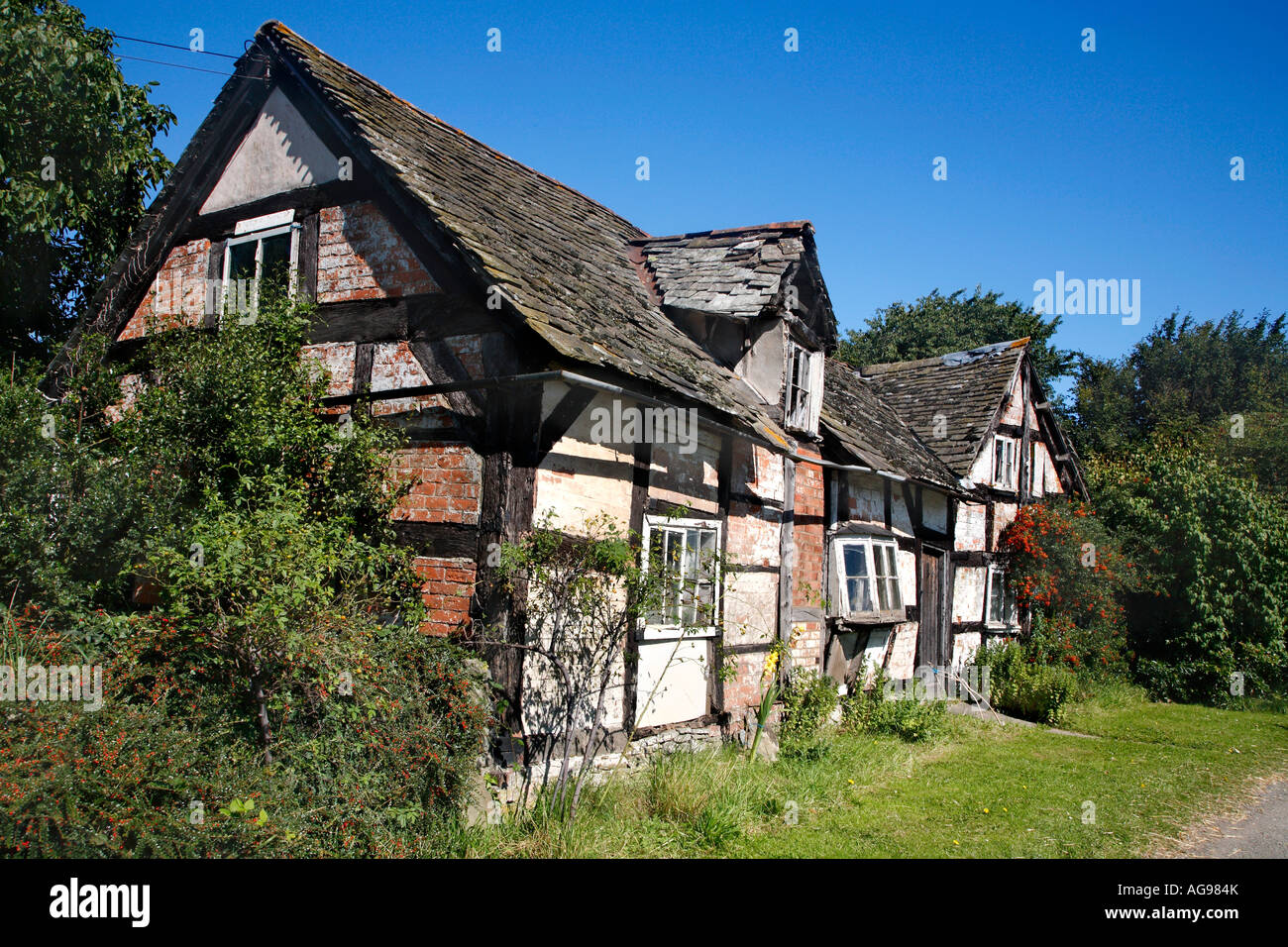 An old English decaying cottage disrepair in Willersley, Herefordshire, England UK - Stock Image