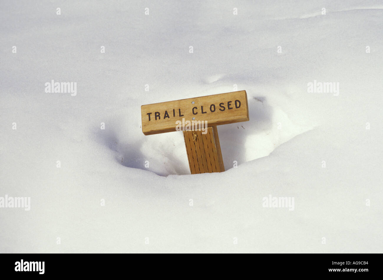 Trail Closed sign buried in snow Park Butte Lookout Trail Mt Baker National Recreation Area Cascade Mountains Washington - Stock Image