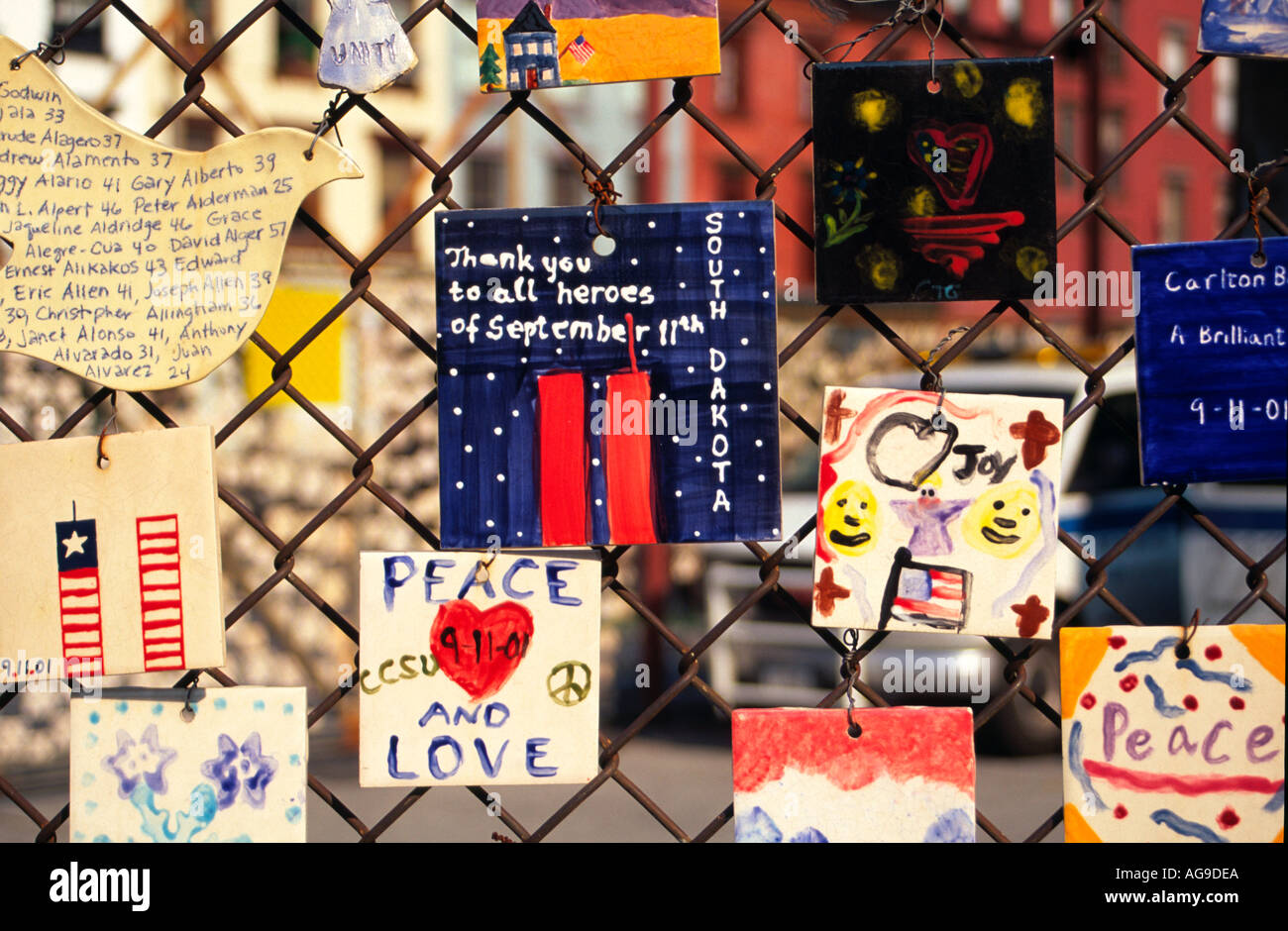 Memorial to 9 11 Terrorist Attack New York USA; Tiles made by school children - Stock Image