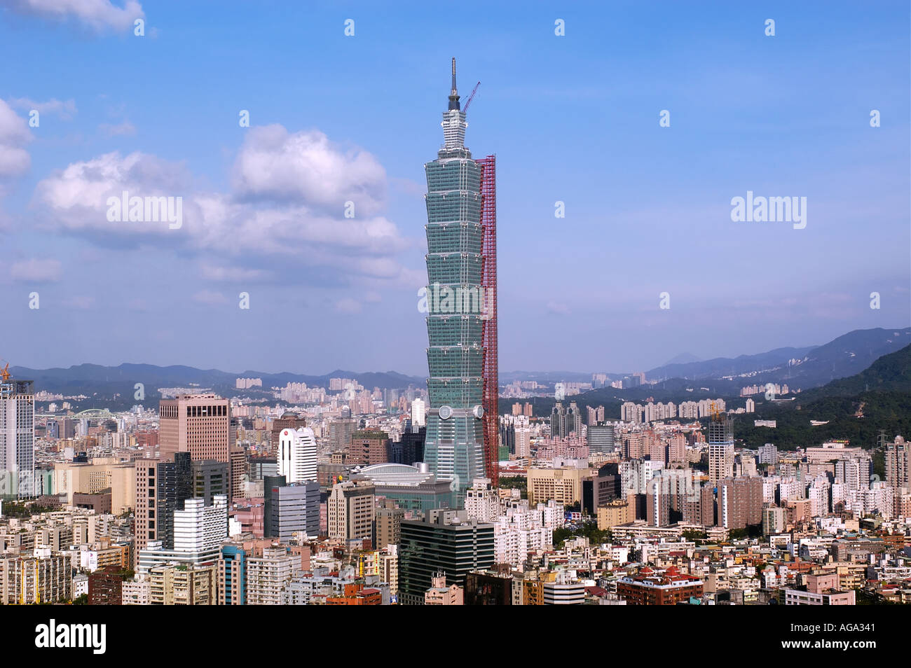 Taipei 101 tower under construction in Taiwan Stock Photo