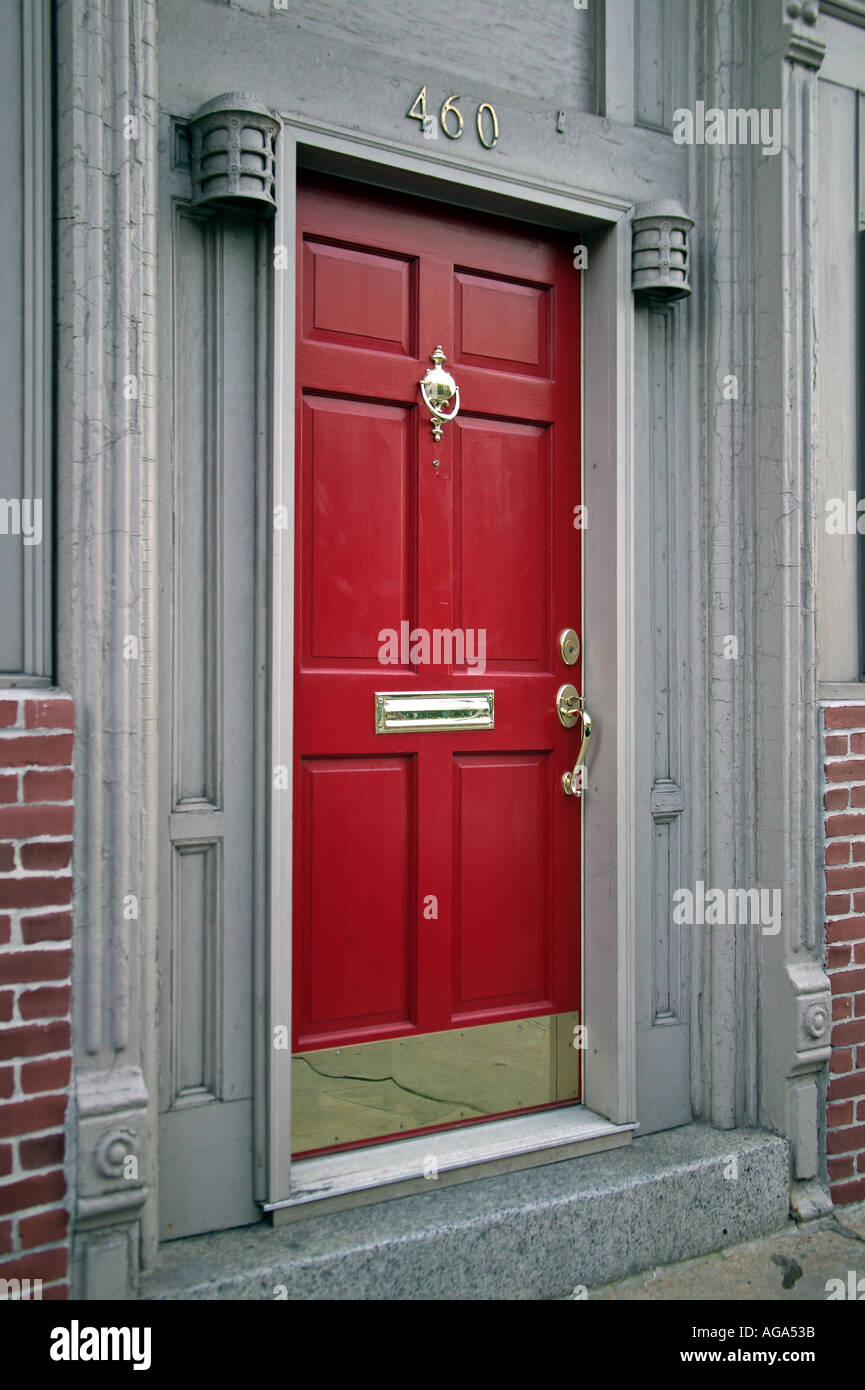 Red painted doors in Italian district north end Boston MA & Red painted doors in Italian district north end Boston MA Stock ...
