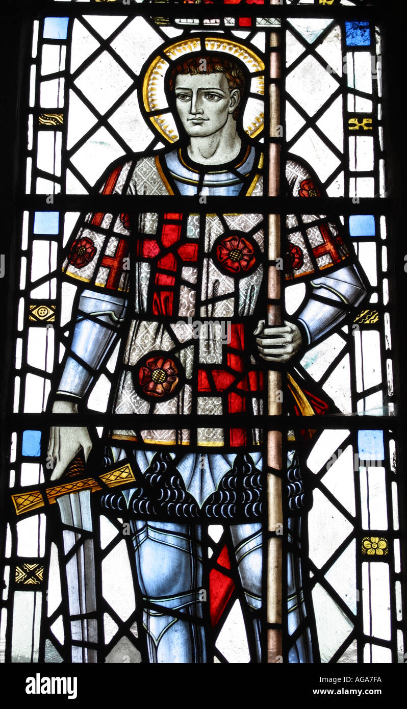 Stained glass church window of English patron Saint St George in St Matthews Church Wookey Somerset England UK Stock Photo