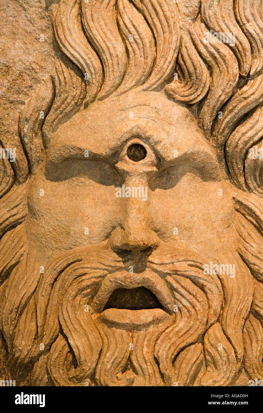 Statue detail of Cyclops, Roman God, recovered in dig in l'Orange, Provence, France - Stock Image