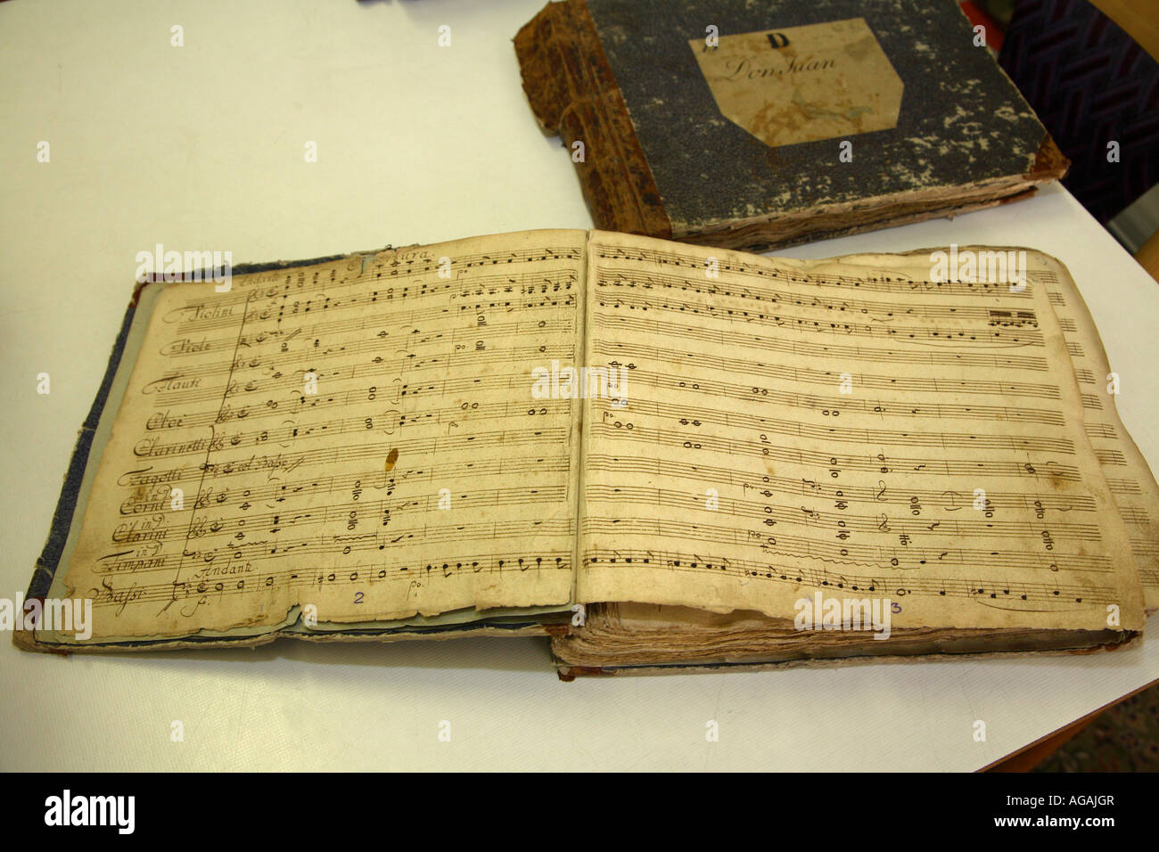 period autograph score of Mozart s opera Don Giovanni Prague conservatory dated 1787 - Stock Image