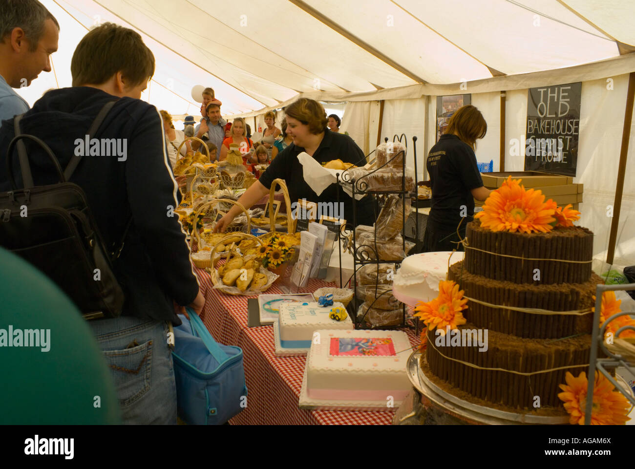 The Old Bakehouse stand at the Frome Cheese Show - Stock Image