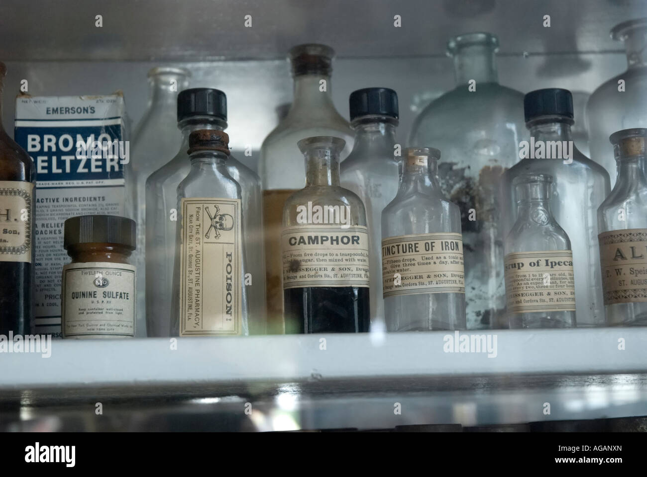antique medicine bottles on display at Authentic Old Drug Store museum and  cafe St Augustine Florida