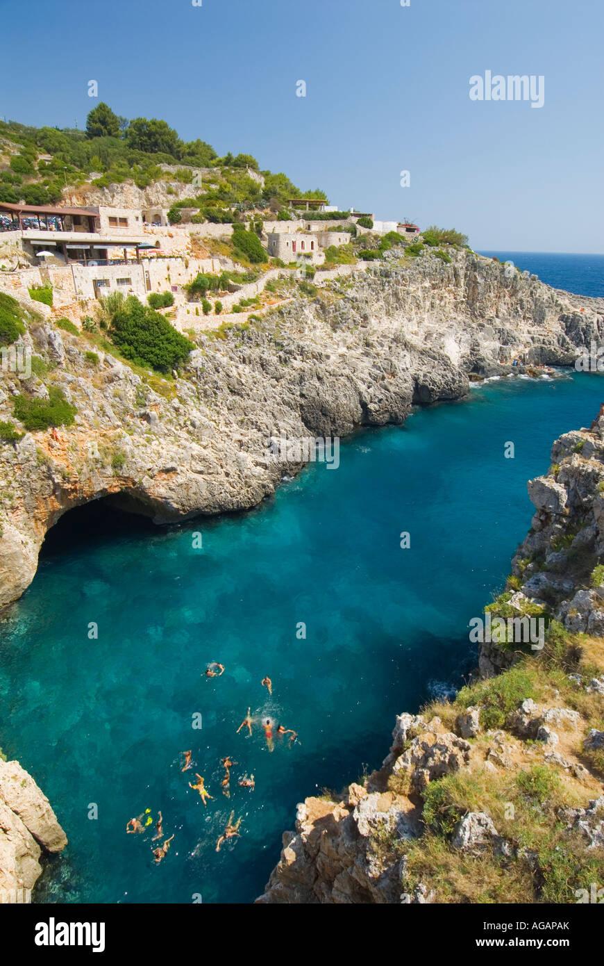 Rugged coastline near Gagliano del Capo Ionian Sea Puglia Italy - Stock Image