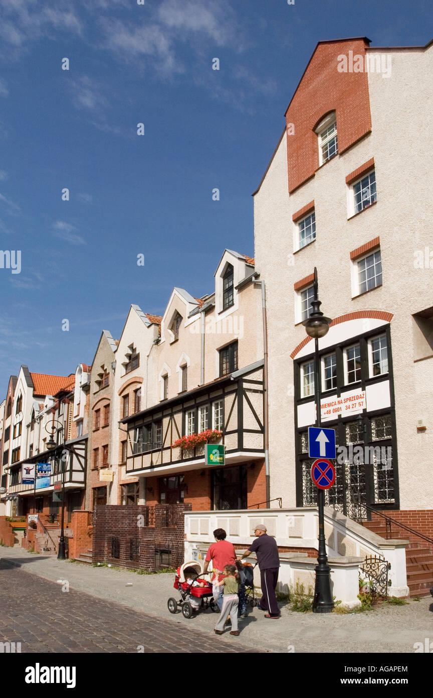 Modern stylised Old Town i Elblag Garbary street Poland - Stock Image