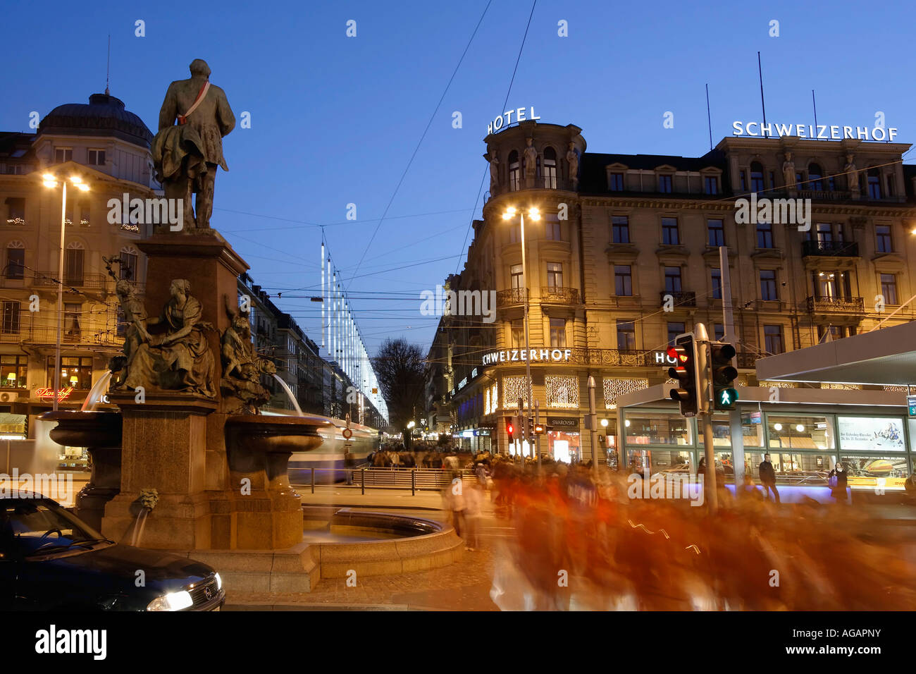 Switzerland Zurich view from railway station at Bahnhofstrasse at twilight Chistmas illumination - Stock Image
