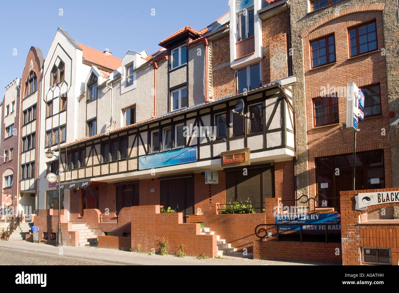 Modern stylised architecture in Elblag Old Town, Poland building house Stock Photo