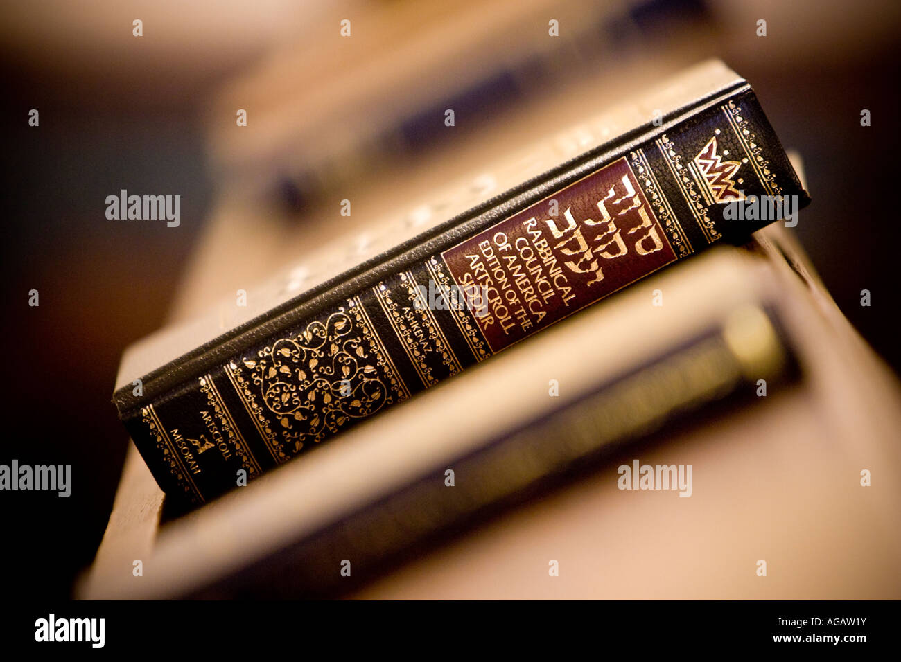 A siddur in a synagogue in Oslo, Norway - Stock Image