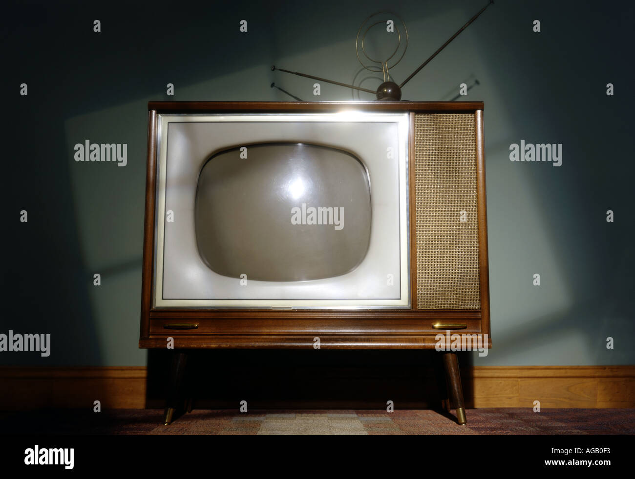 Vintage TV Television set old horizontal Stock Photo