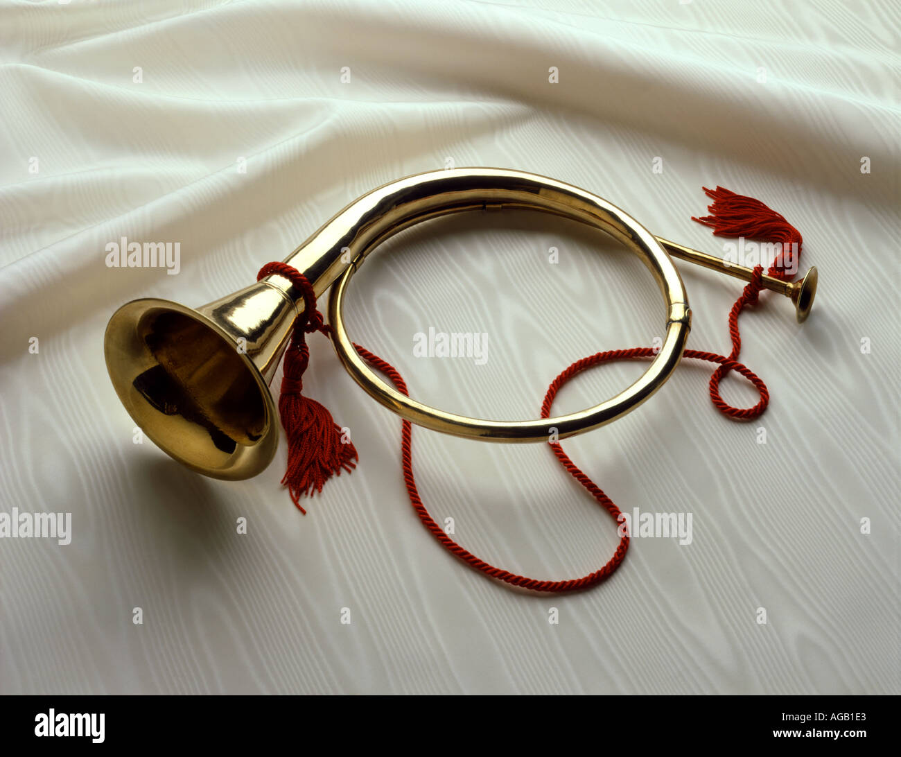 Horn Ornaments Christmas beautifies adorns decorates holidays celebrate Music instrument - Stock Image