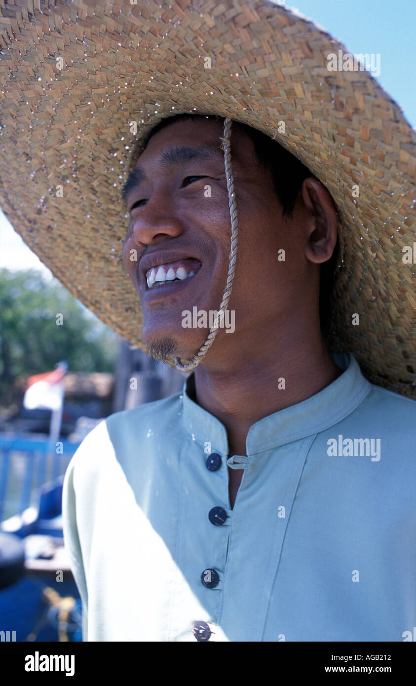Friendly fisherman at the port of Labuan Lalang Nr Pulau Menjangan Deer Island Bali Barat National Park N Bali - Stock Image