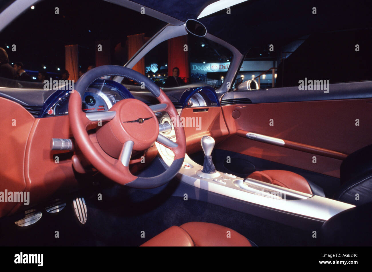interior of chrysler crossfire concept car at the 2001 north american international auto show