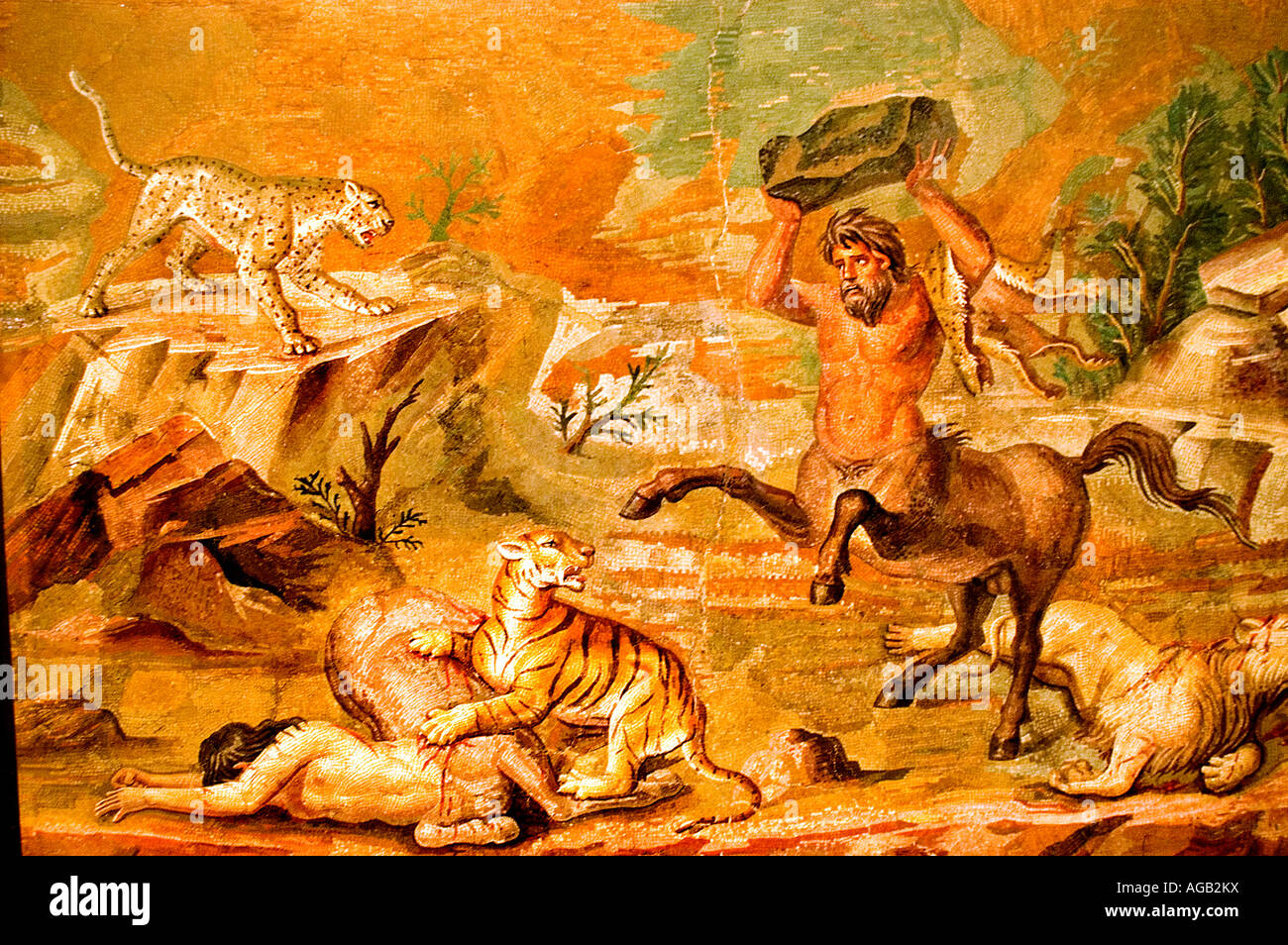 Mosaic from Hadrian s villa battle between centaurs and a tiger and lion near Tivoli and Rome - Stock Image