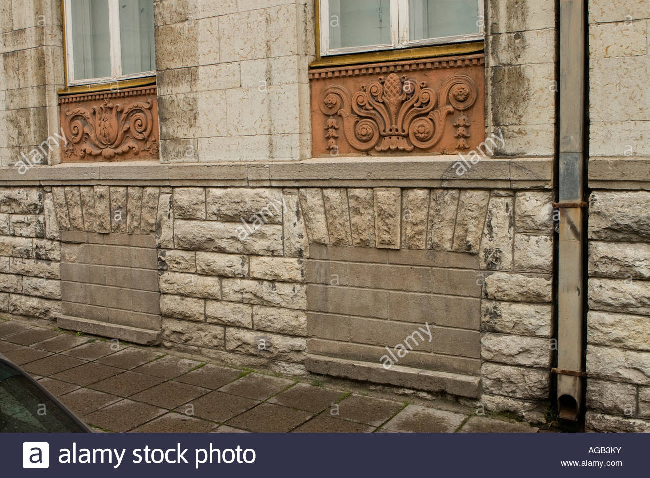 The former KGB HQ in Tallinn with it's blocked cellar windows. - Stock Image