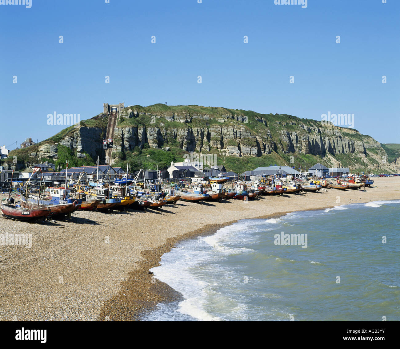 Fishing Boats On Hastings Beach, East Sussex, England, UK