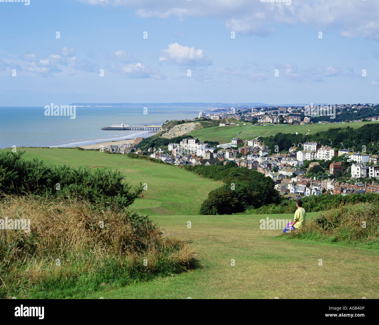 View Of Hastings From The East Hill Over Old Town To West And