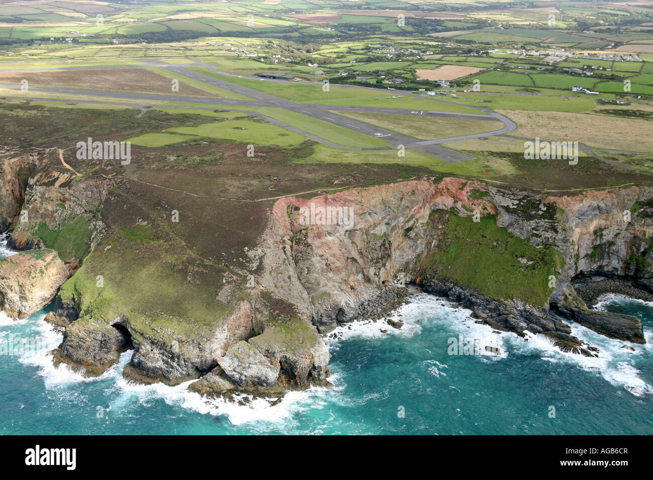 Aerial of Perranporth Airfield, Cornwall, UK - Stock Image