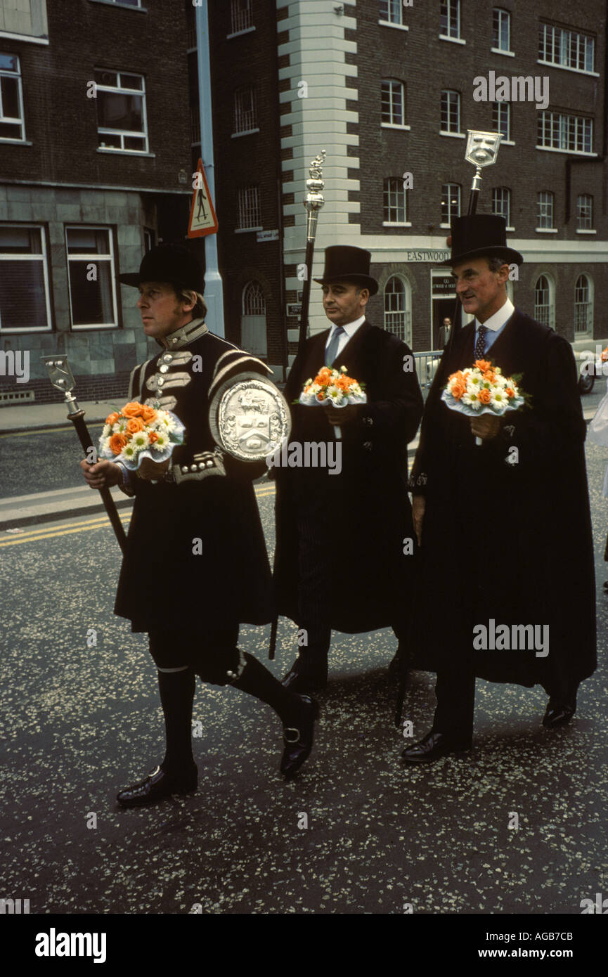 Worshipful Company of Vintners annual Procession usually Thursday after July 4th along [Thames Street] London from Vintners - Stock Image