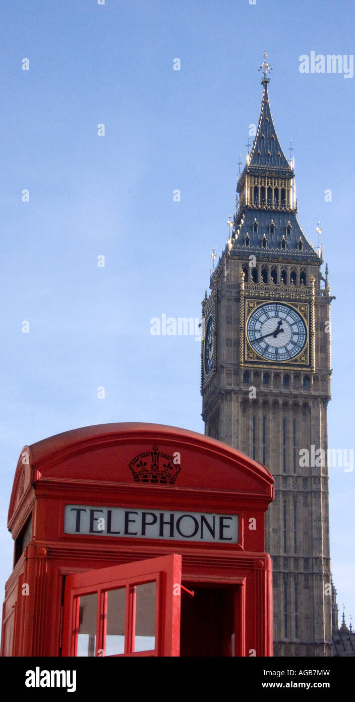 UK telephone box in parliament Sq London Big Ben in background 2007 - Stock Image