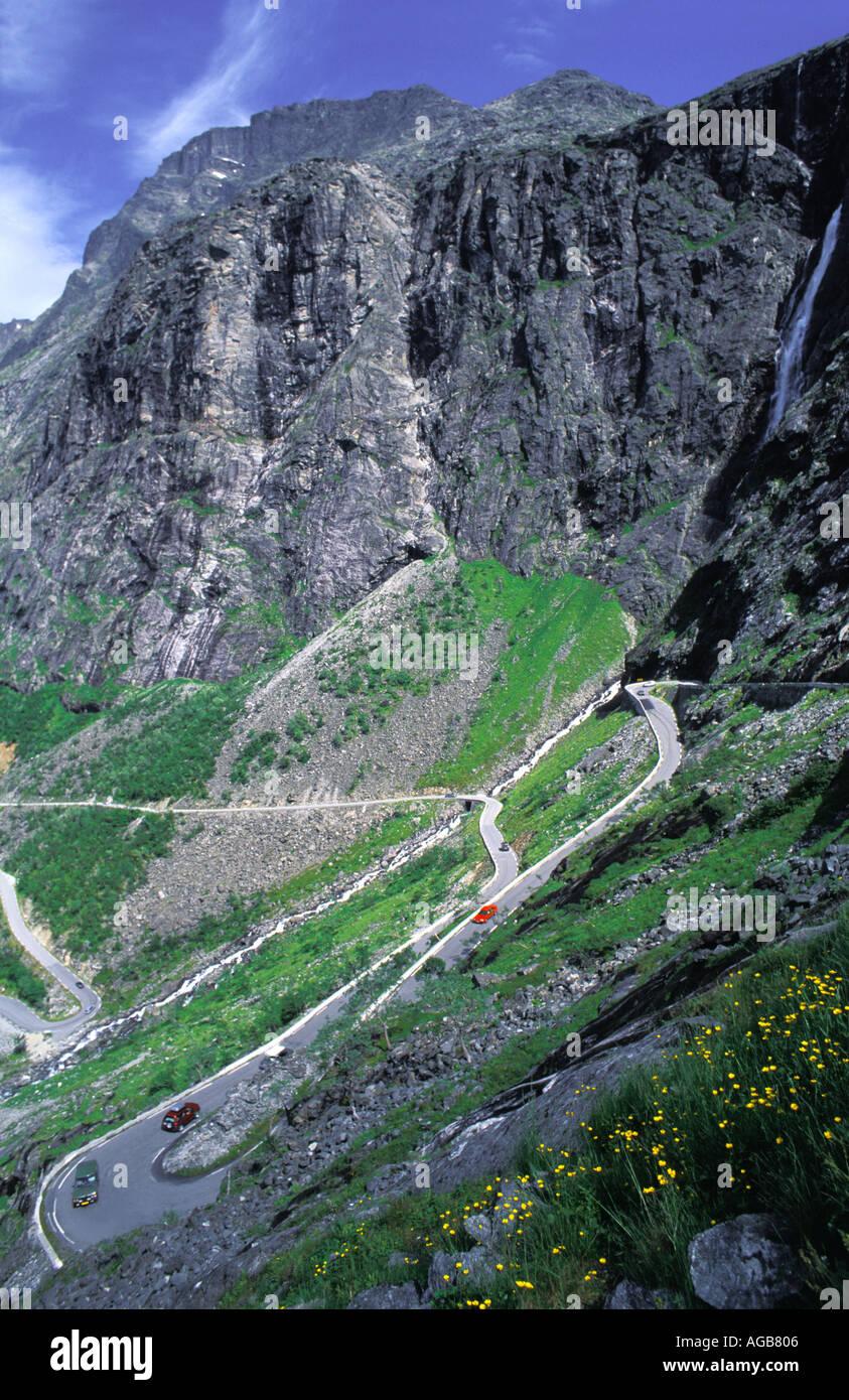 NORWAY ROMSDAL TROLLSTIGEN THE TROLLS LADDER TROLLS CAUSEWAY  Stock Photo