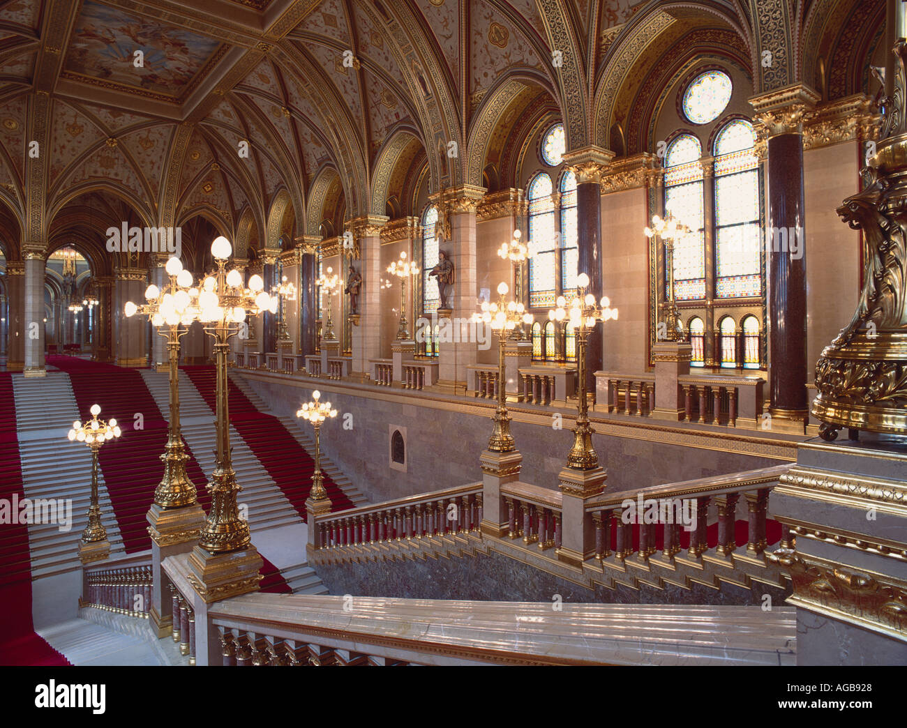 The Neo Gothic Budapest Parliament Building Incorporates A Ceremonial Staircase Fine Example Of Fin De Siecle Style