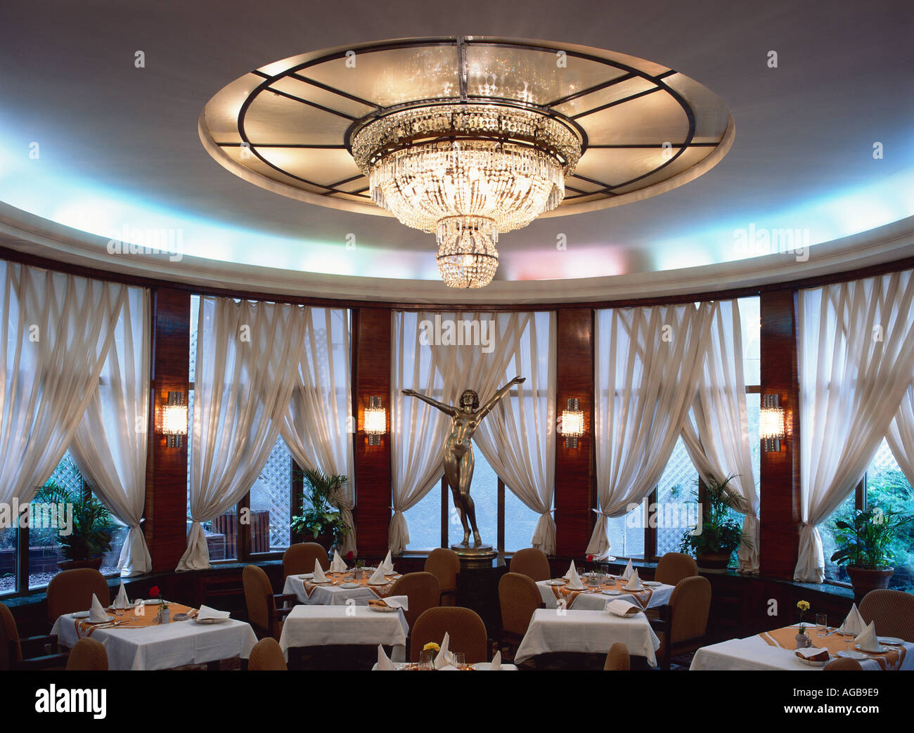 The Art Deco dining room in the Alcron Hotel in Prague Stock Photo ...