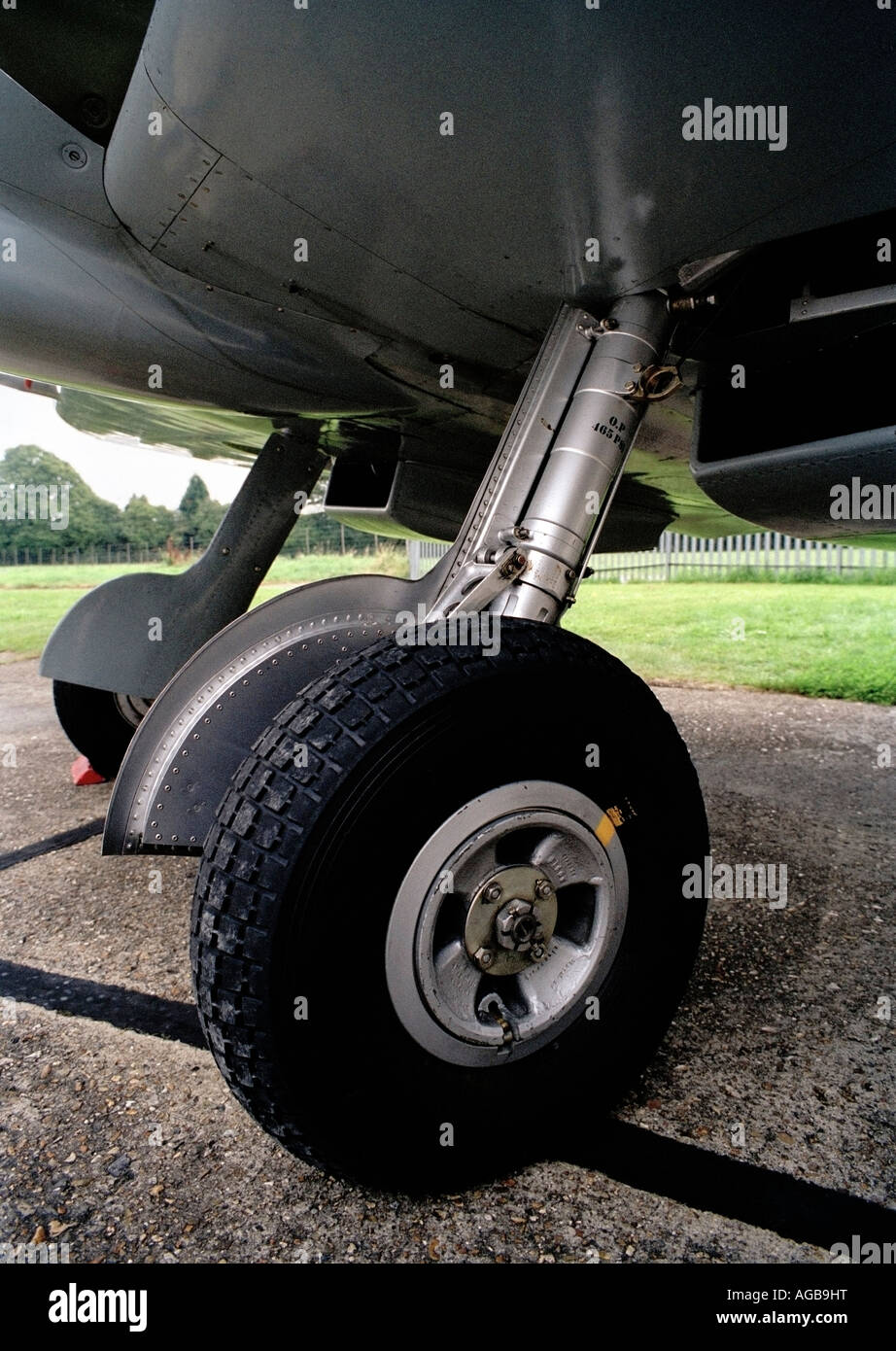 The Undercarriage or landing gear of a Supermarine Spitfire from world war two. - Stock Image
