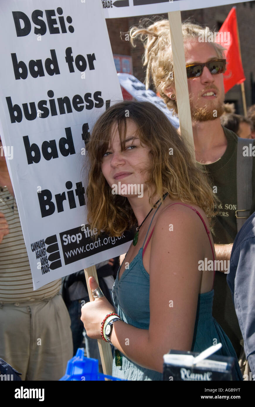 DSEi: Bad for Business, bad for Britain reads the slogan on this placard at the rally against the arms fair in London. Stock Photo