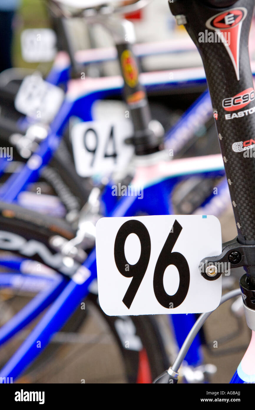 Typography typeface number 96 in the Tour of Britain elite cycle race numbers of bikes competitors Dumfries Scotland - Stock Image