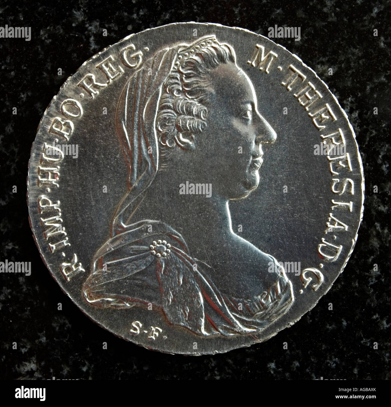 Maria Theresa silver Thaler (obverse / front) 1780 - restrike - Stock Image