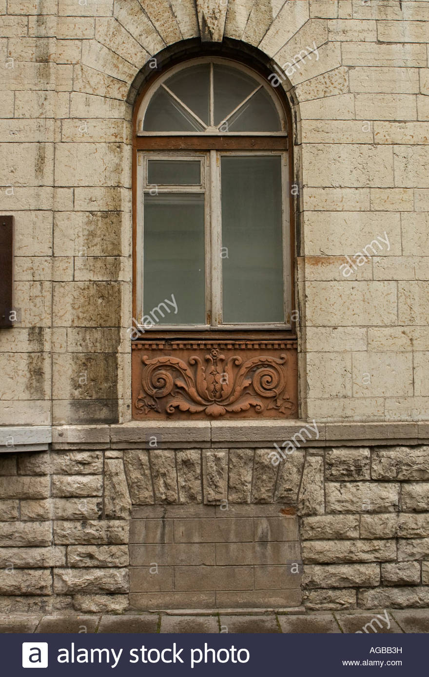 The former KGB HQ in Tallinn, Estonia. Cellar windows block when used as a jail. - Stock Image