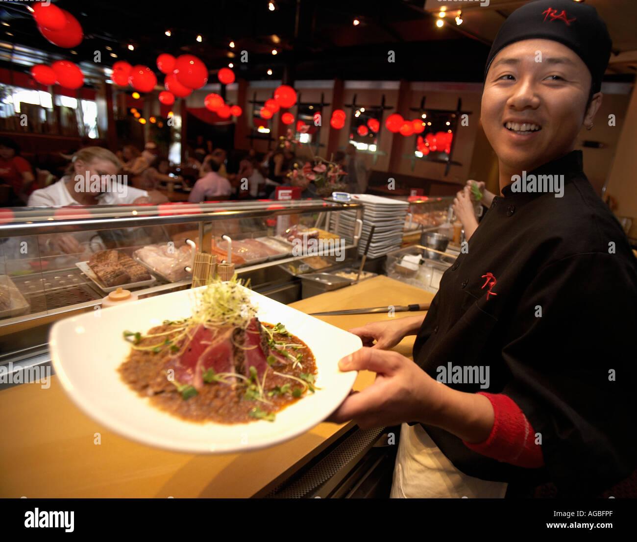 Sushi Chef At Ra Sushi Restaurant Las Vegas Nevada Chef