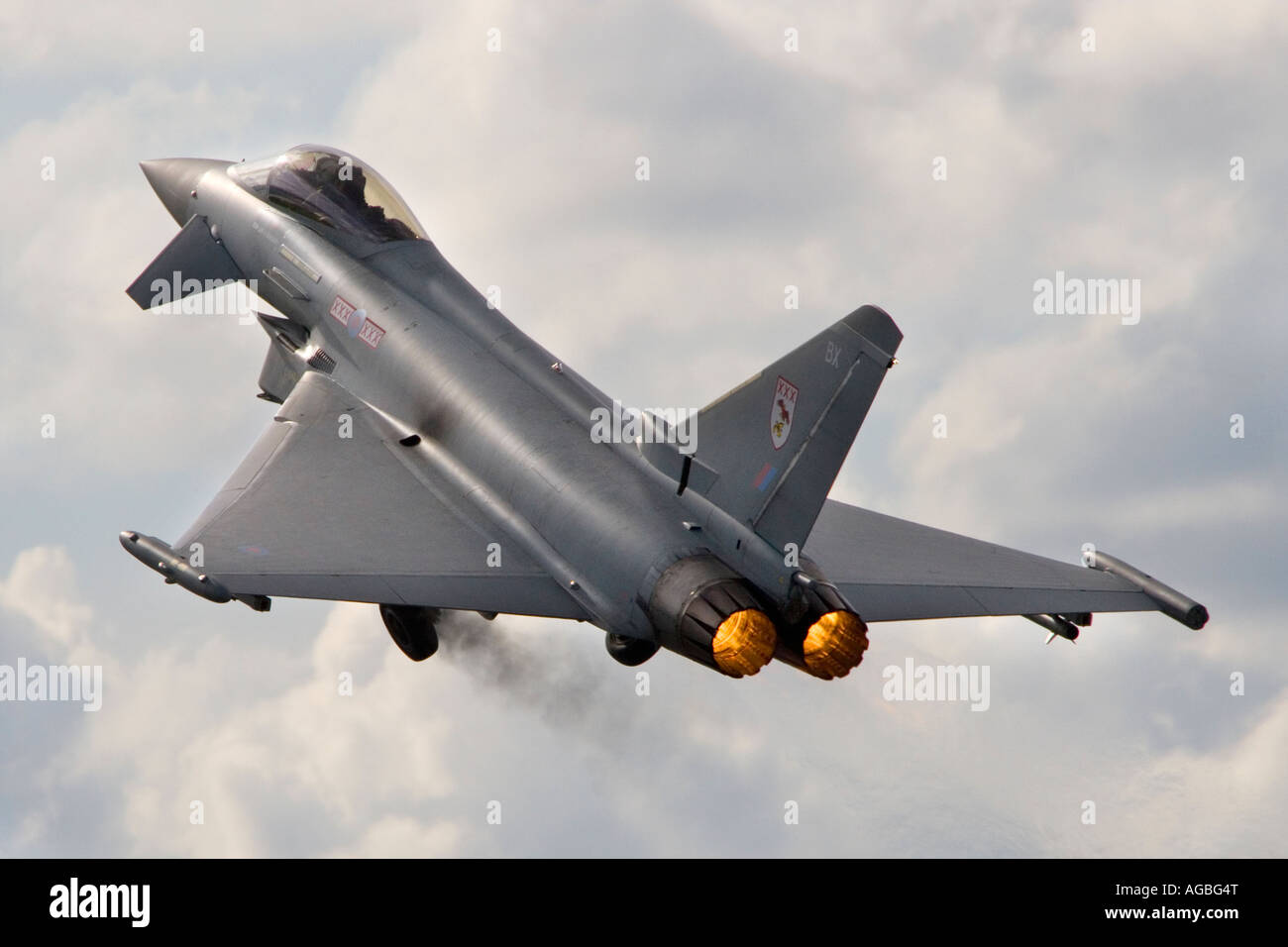 Royal Air Force Eurofighter Typhoon T1 twin-engine multi role canard delta strike fighter aircraft taking off with - Stock Image